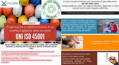 SOLO PER POSSESSORI P.IVA – Corso di progettazione di un sistema di gestione della sicurezza UNI ISO 45001 -SCAD. ISCRIZIONE 31/07/2020, a finanziamento Regionale avvenuto